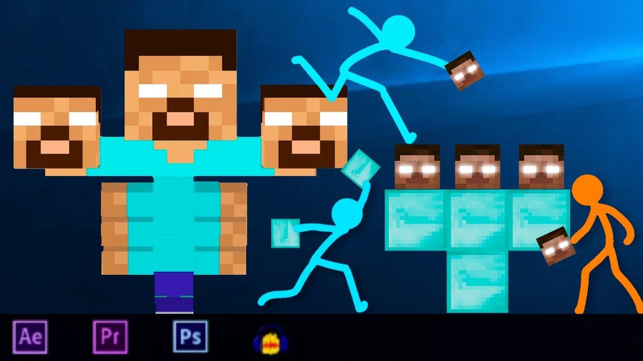 Animation VS Minecraft Cartoon (Stick Fight) Stickman vs Minecraft stick man Movie