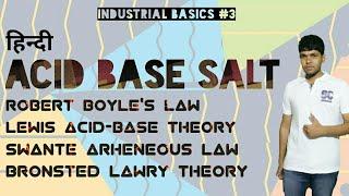 [Hindi] Acid base salt bronsted lowry acid base theory lewis acid base theory complete acid base