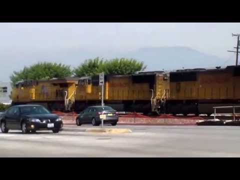 Freight Train stuck on a railroad crossing in City of Industry, California