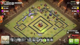 Tips Clash Of Clans TH 10: meratakan (3 star) base war type 20 menggunakan trops GiHealBow