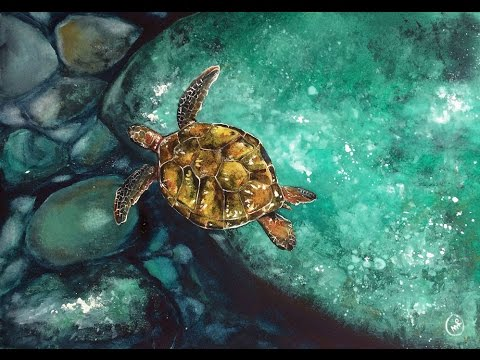 Watercolor Underwater Sea Turtle - Sponge technique - Painting Demonstration