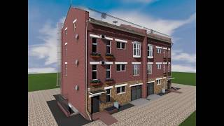 Готовый проект трехэтажного таунхауса на 2 семьи (дуплекс)