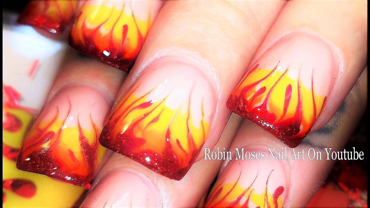 Flame No Water Marble Nails | Fire Drag Marble nail art Tutorial