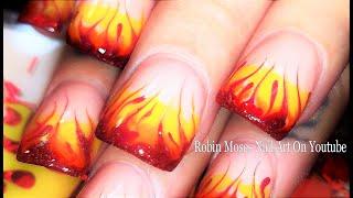 Nails On Fire! Traditonal Drag Marble Flames Nail Art Design Tutorial