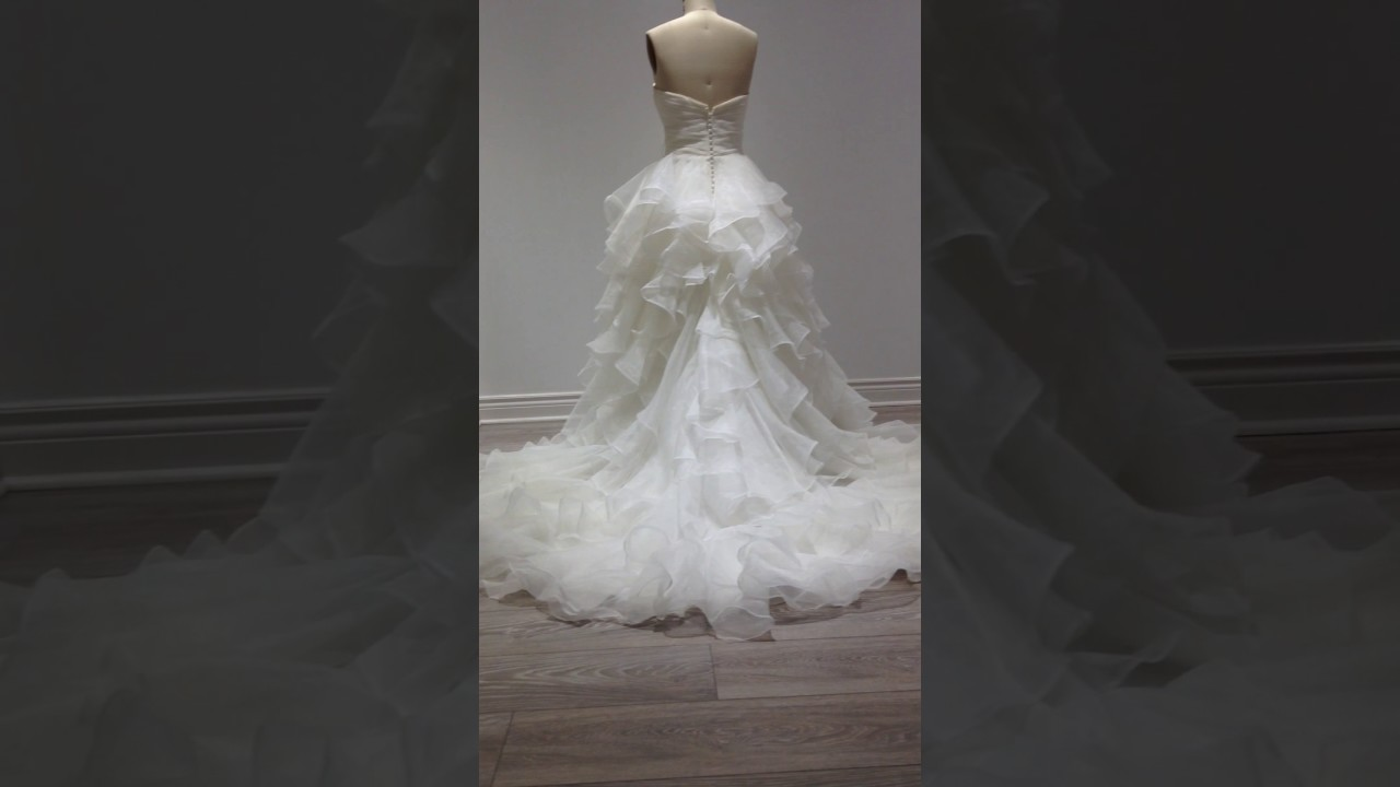 Wedding gown over Bustle. (Before & After) - YouTube