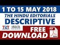 1 to 15 May 2018 | The Hindu Editorial Descriptive | Free PDF Download