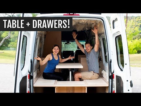 Working on our van conversion TOGETHER + building our table and drawers! | Van Build Series