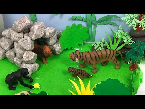 Forest model making for school projects | How to make jungle poaching and hunting model