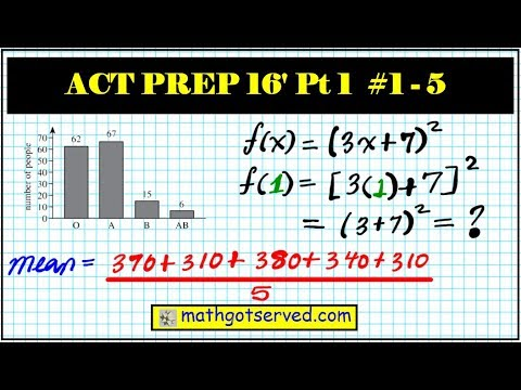 ACT math test prep part 1 numbers 1 to 5