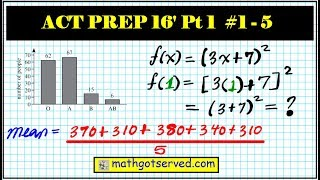 ACT Released Practice math test prep part 1 numbers 1 to 5  (2015 - 2016)