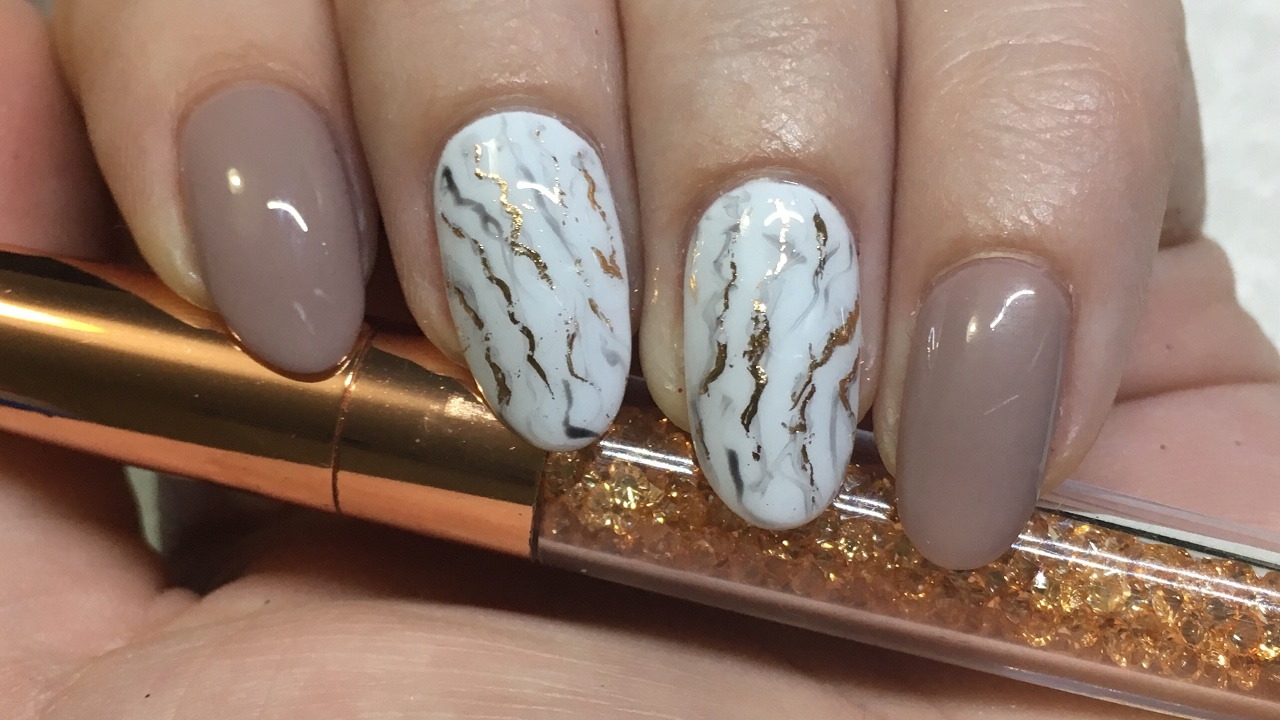 Nail Art | Marble with Rose Gold Foil | Gel Polish - YouTube