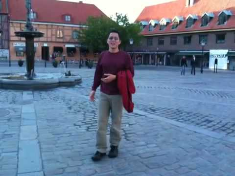 Downtown square in Ystad, Sweden