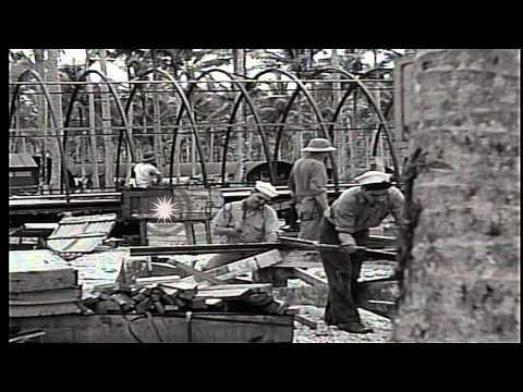 Men construct quonset huts in Espiritu Santo, Vanuatu during World War II. HD Stock Footage
