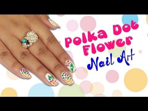 Polka Dot Flower Nail Art Design Do It Yourself Khoobsurati