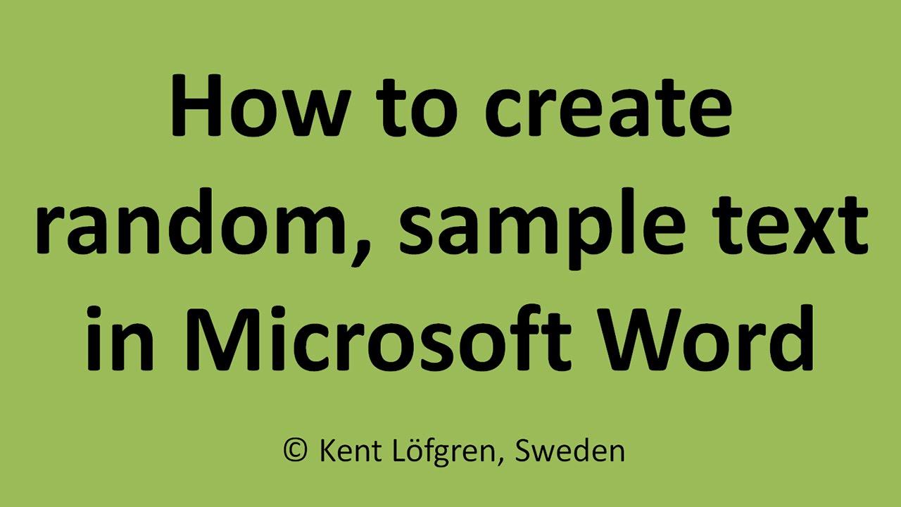 Random sample text generator lorem ipsum in Word