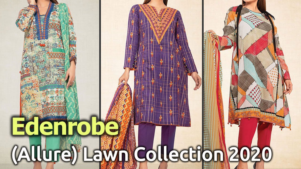 Latest Collection of EDENROBE (ALLURE) Lawn Dresses 2020| Pakistani Summer Lawn Suits Designs