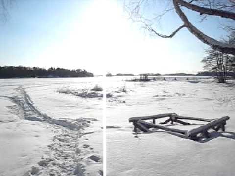 Walking on frozen lake