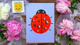 Как нарисовать божью коровку - урок рисования для детей от 3 лет, гуашь,  рисуем дома поэтапно