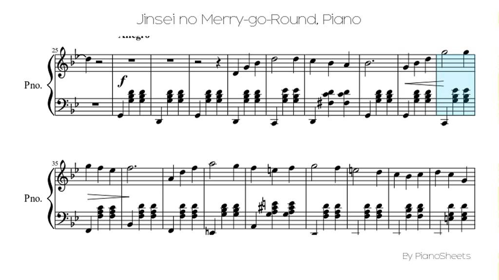 Piano anime piano sheet music : Jinsei no Merry-go-Round [Piano Solo] - YouTube