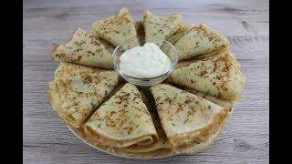 Сырные блины с зеленью Быстрый и очень вкусный завтрак