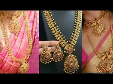 beautiful gold necklace design//Latest south Indian jewellery designs