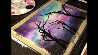 speed watercolor painting - space