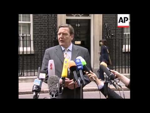 German Chancellor Gerhard Schroeder visits UK