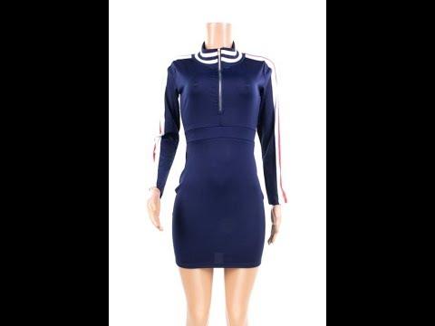 Plus Size Zipper V Neckline No Belt Sexy Mini Dress Wholesale