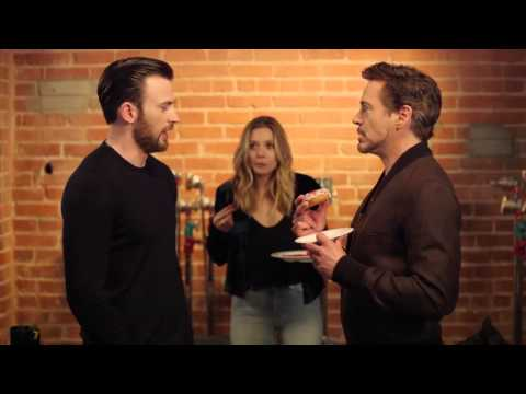 Chris Evans, Robert Downey Jr & Elizabeth Olsen  Tony Steals The Last Donut