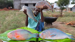 LARGE !!! Big Size PARROT FISH Finger Prepared by My Daddy ARUMUGAM / Village food factory