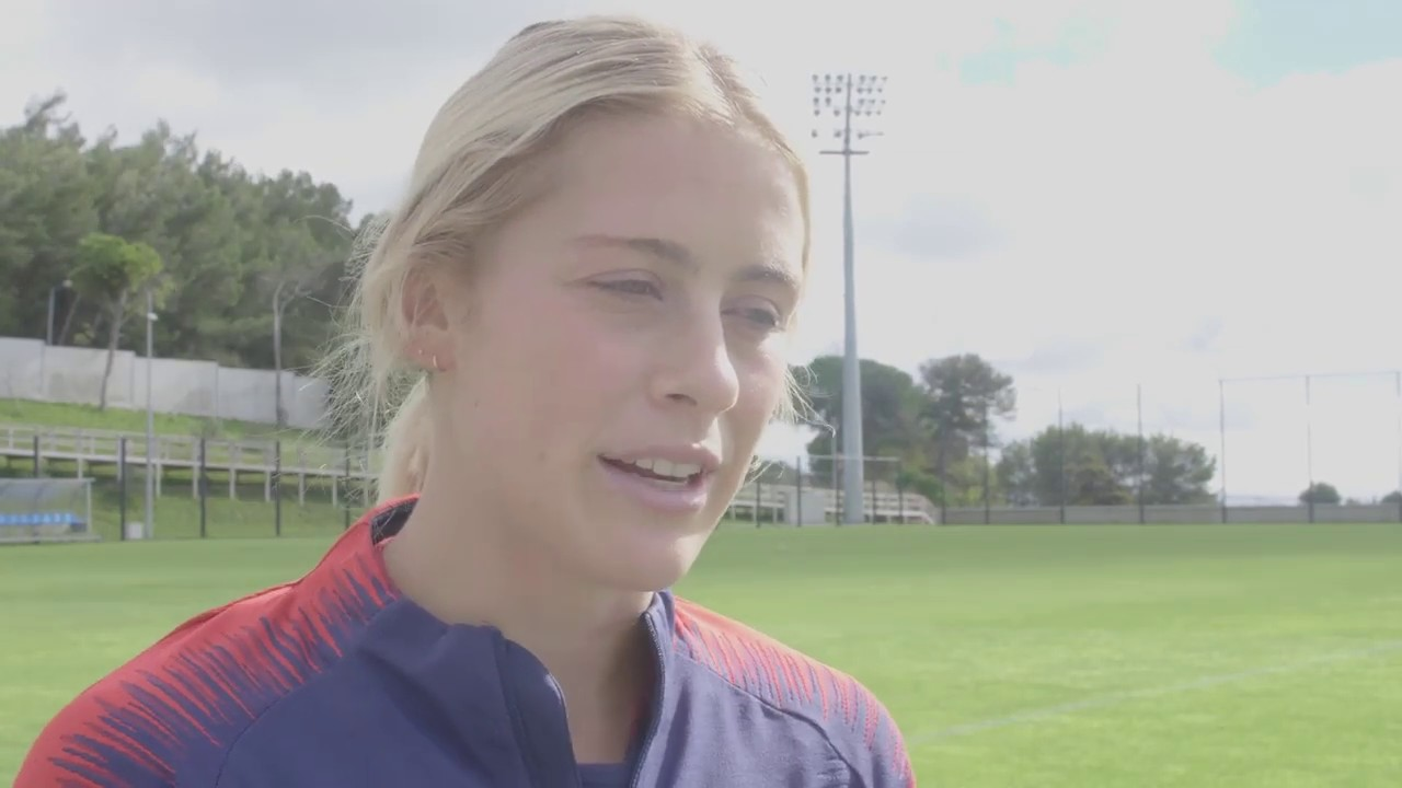 Abby Dahlkemper of the USWNT ahead of the Portugal game