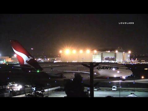 QANTAS Air Bus Emergency Landing At LAX / Los Angeles   RAW FOOTAGE