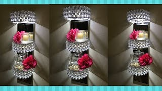DIY GLAM LIGHTED DISPLAY WALL SHELVES I DOLLAR TREE DIY