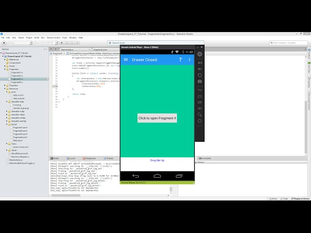 Xamarin Android Tutorial   58   Pull Up Fragment