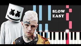 Lil Peep & Marshmello - Spotlight (SLOW EASY PIANO TUTORIAL)