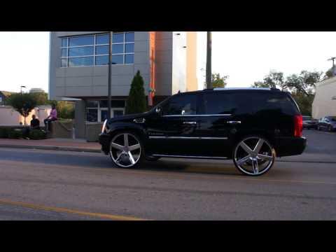 Caddy's on Dub Wheels and Chrome Wrapped Jaguar TSU Homecoming 2K16