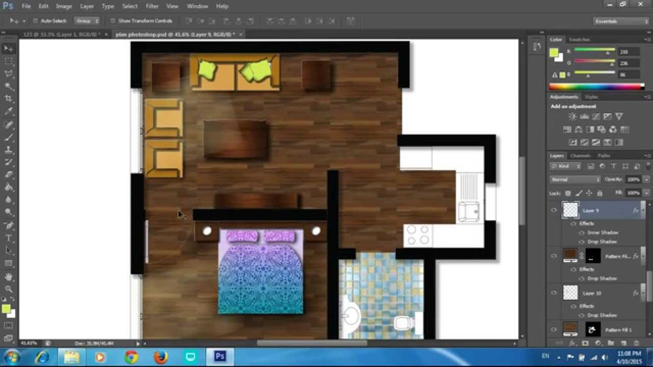 Adobe Photoshop Cs6 Rendering A Floor Plan Part 2