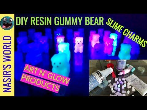 DIY Glow in the Dark Gummy Bear Resin Slime Charms | Art N' Glow