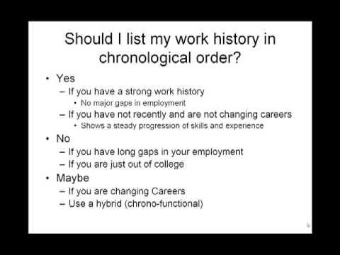 Make Resume of My Own - Should I list my work history in chronological  order? - YouTube