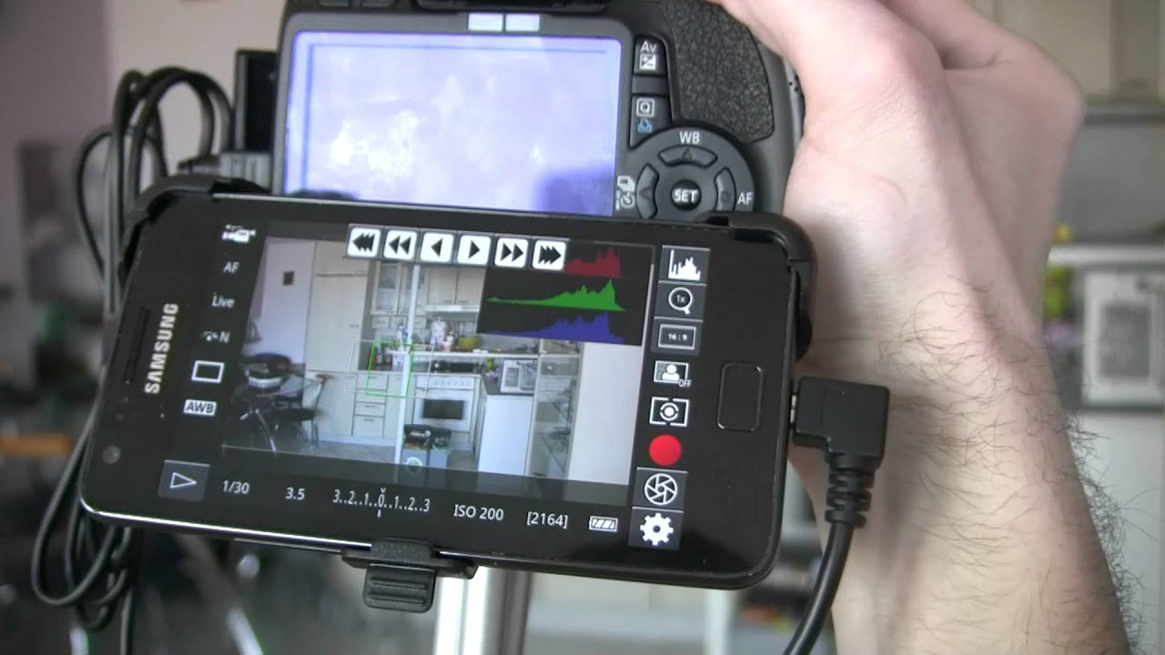 Canon 550d T2i With External Monitor Samsung Galaxy S2