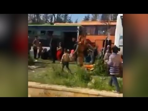 Video shows Syria bus blast