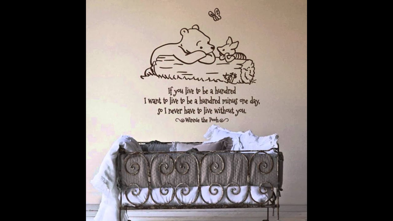 Winnie The Pooh Words Quotes For Nursery Wall Decals  Design With Antique Cradles Ideas