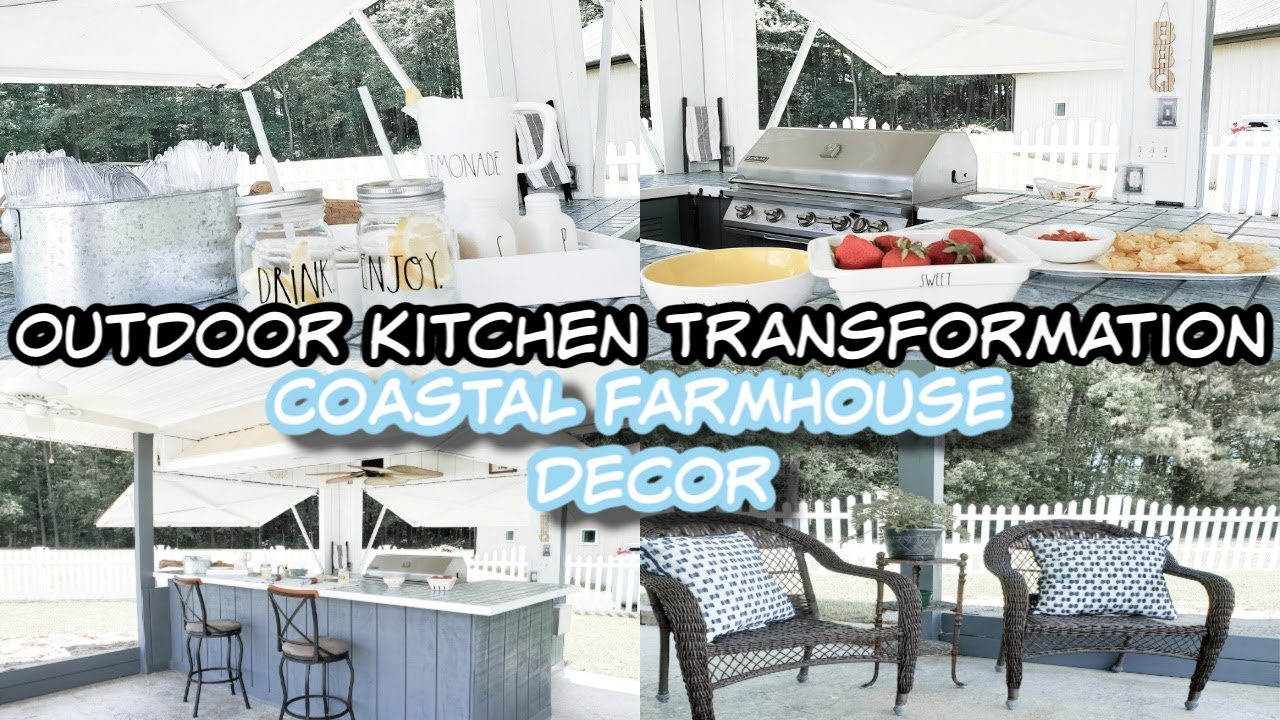 DIY Patio Makeover on a Budget Coastal Farmhouse  Outdoor Kitchen Transformation Before & After