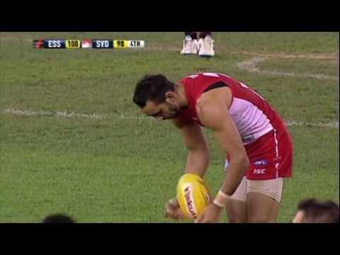 Adam Goodes misses a goal after the siren!