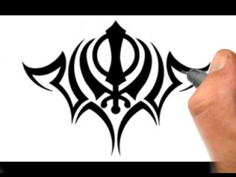 Drawing A Khanda Tribal Tattoo Design On Shoulders Youtube