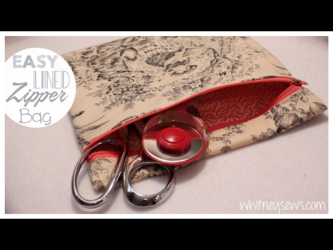 Easiest Lined Zipper Bag  How To  Whitney Sews