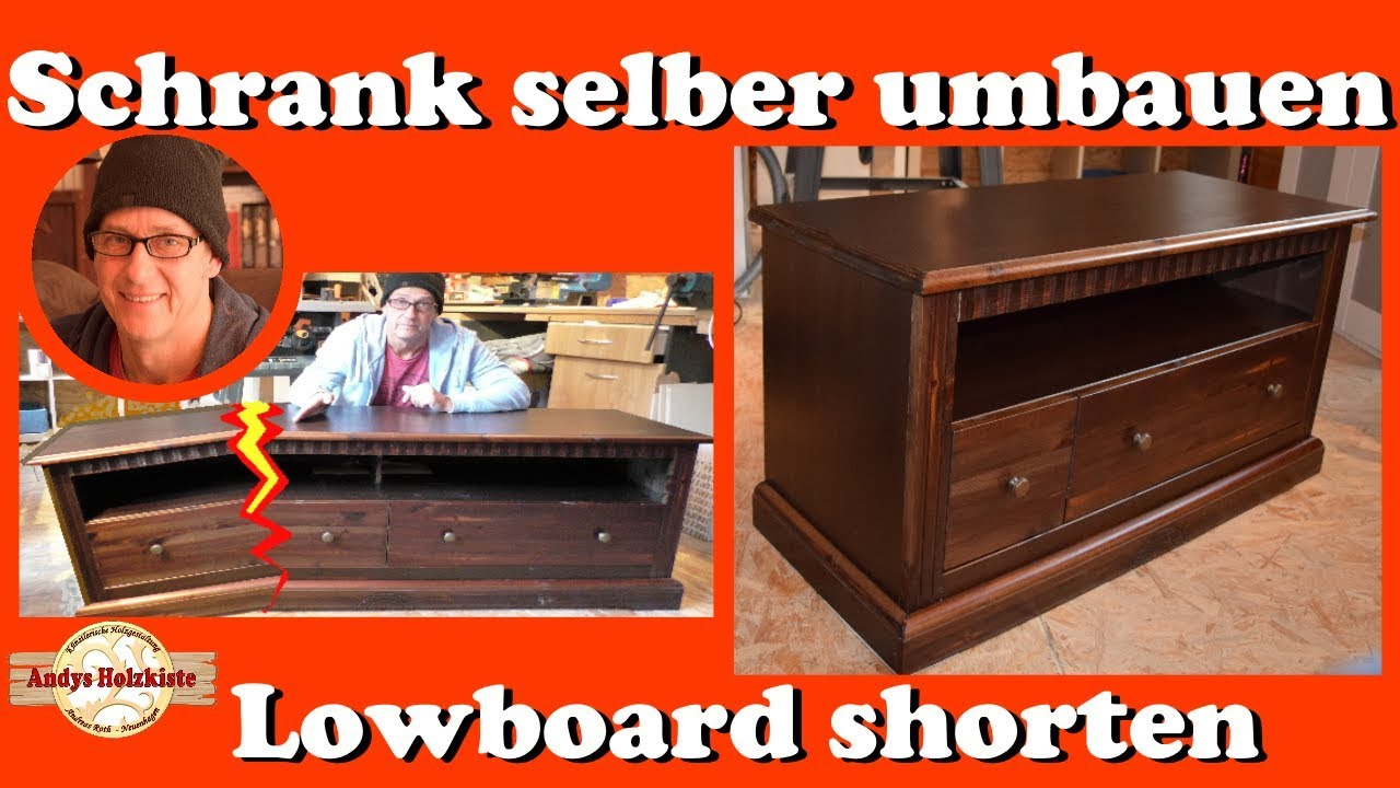 schrank selber umbauen lowboard shorten youtube. Black Bedroom Furniture Sets. Home Design Ideas