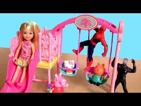 Barbie Swing Set With Peppa Pig Hello Kitty Spiderman
