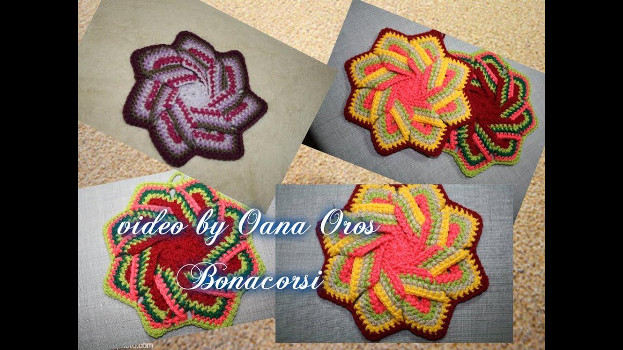 crochet swirl pot holder - YouTube