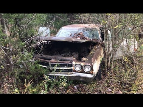 ABANDONDED!!! MYSTERY 1970 CHEVELLE SS454 LS6 WAS DRIVEN INTO THE WOODS AND DESERTED.